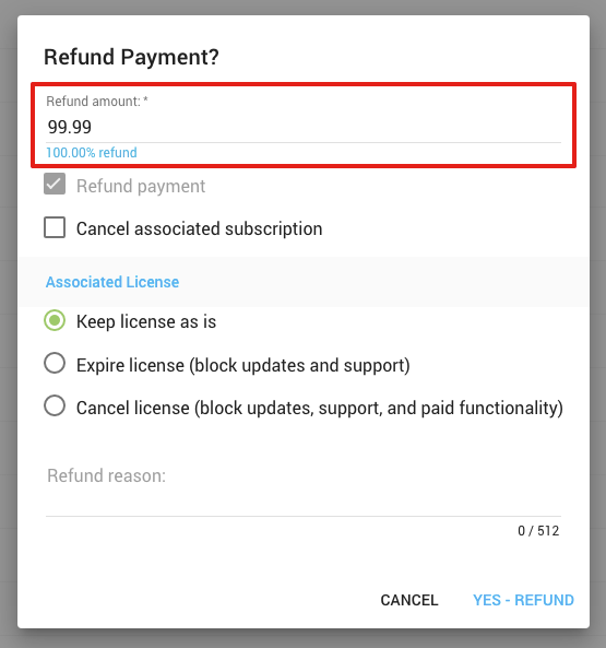 Freemius Partial Refunds - Selecting Refund Amount