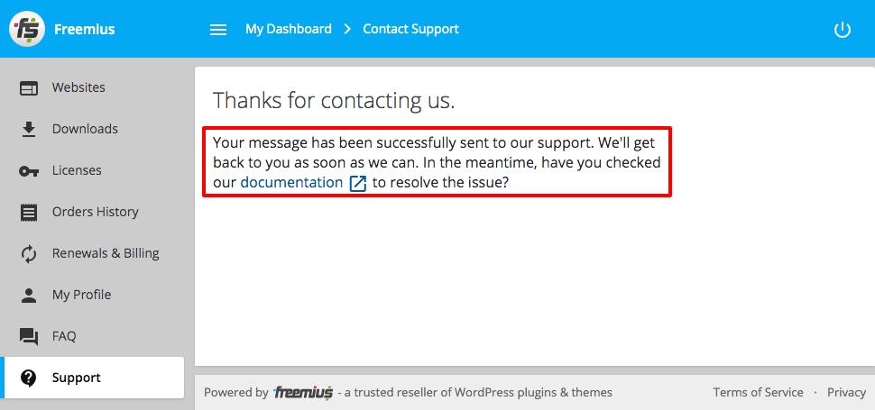 Freemius User Dashboard Contact Form Check documentation while waiting
