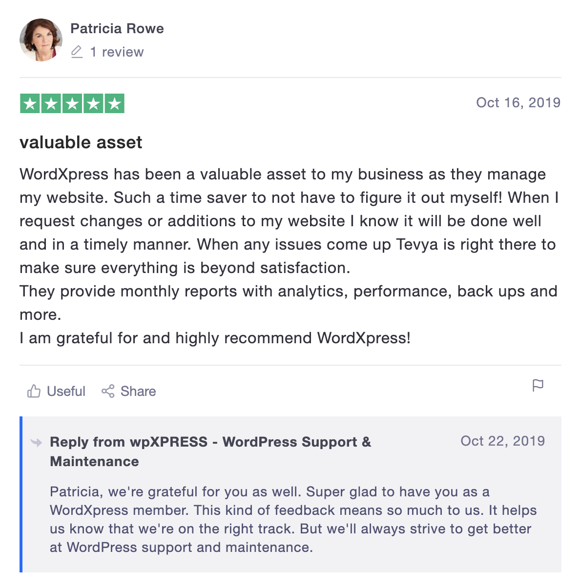 Review for Tevya from wpXPRESS