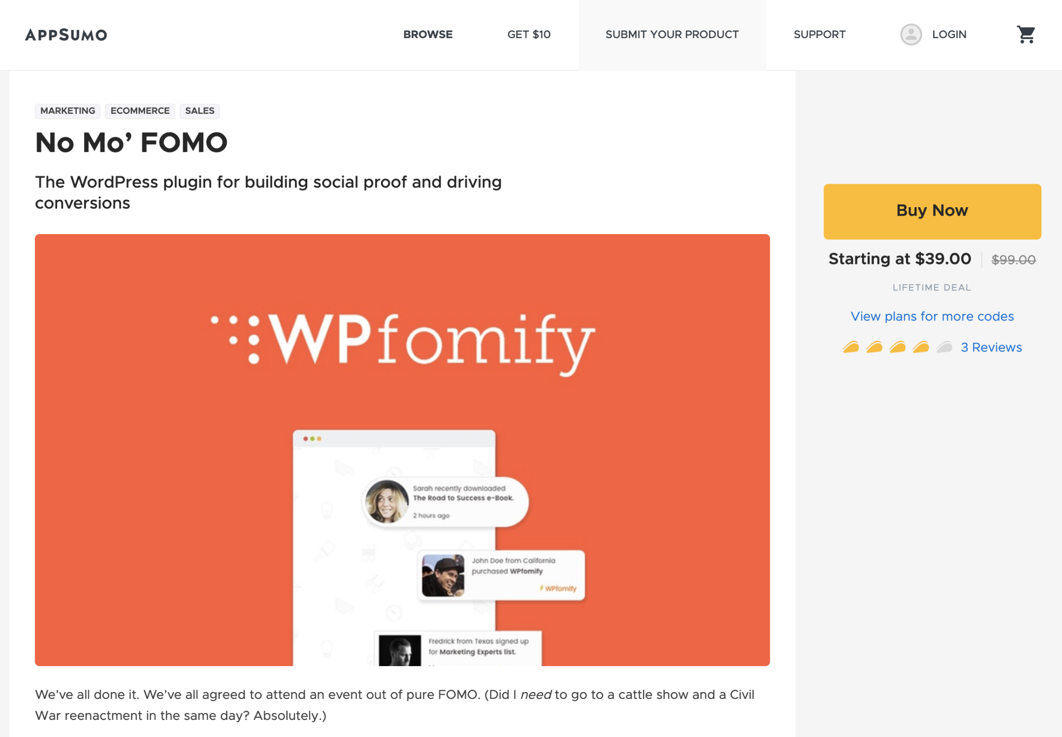 WPfomify AppSumo Listing Page