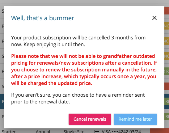 Freemius Subscription Cancellation Email Grandfathered Pricing Warning