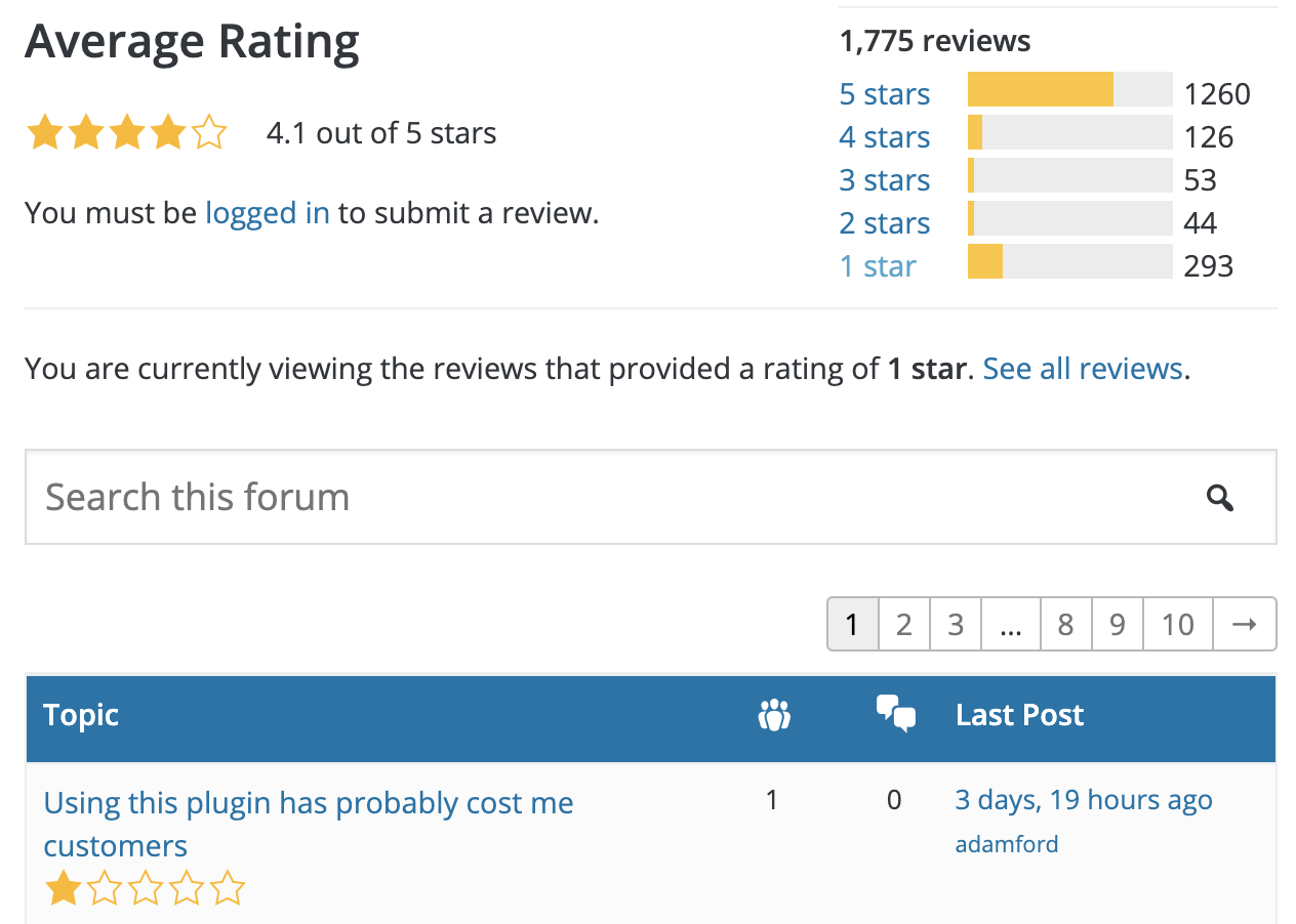 One star review on WordPress.org
