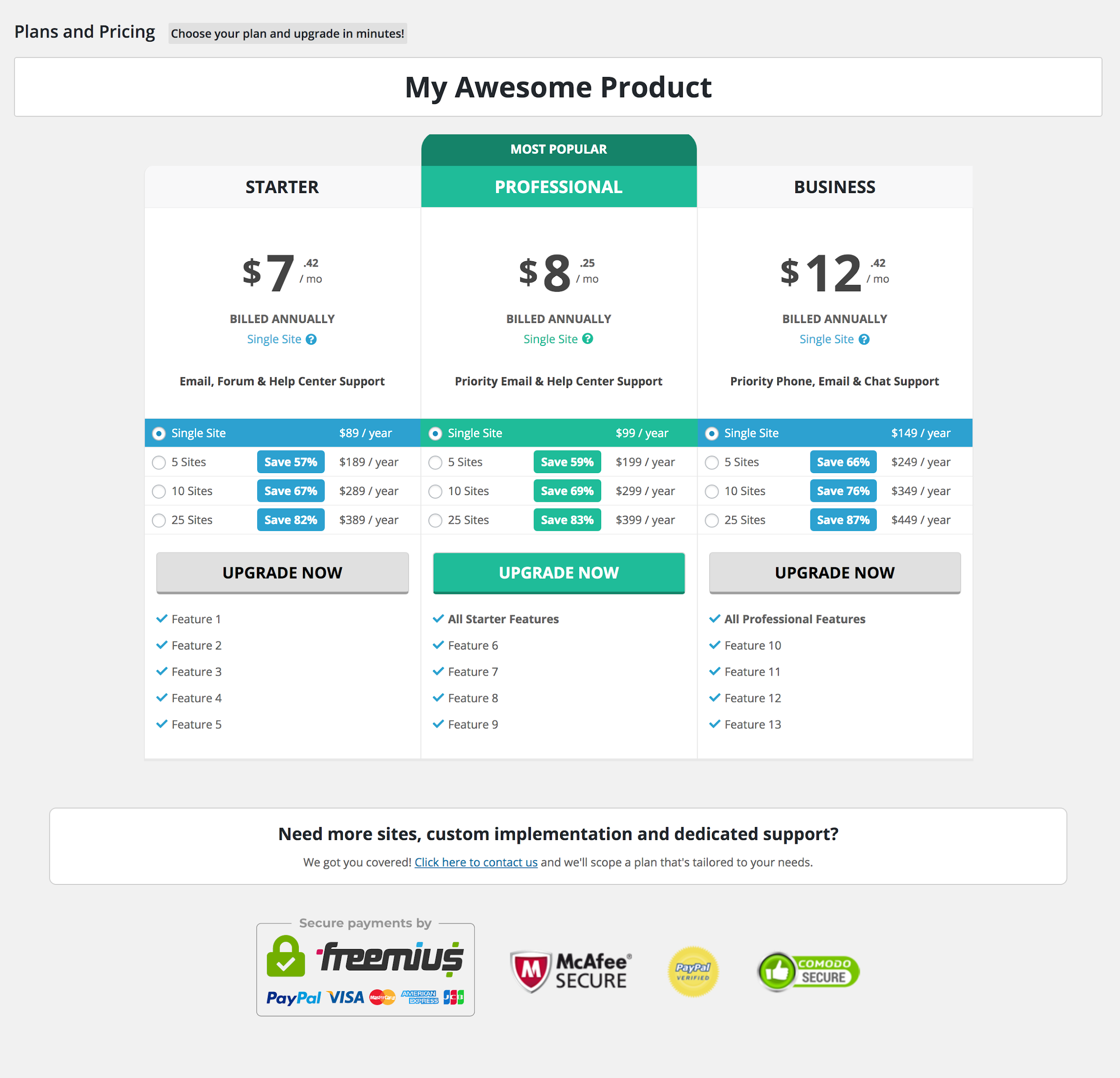 Freemius SDK 2.4.0 New ReactJS Pricing Page