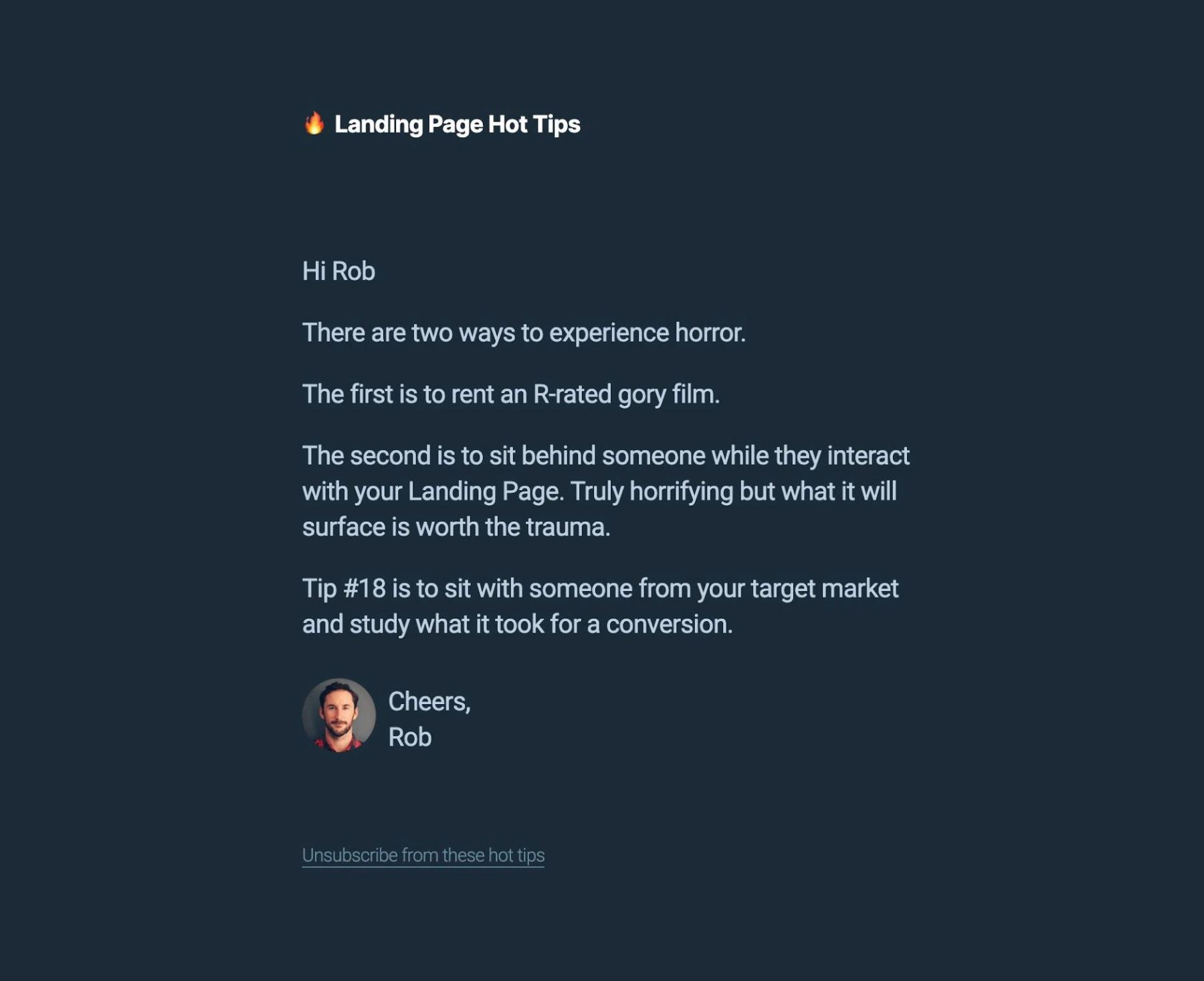 Rob Hope Landing Page Hot Tips Growth Hack #1