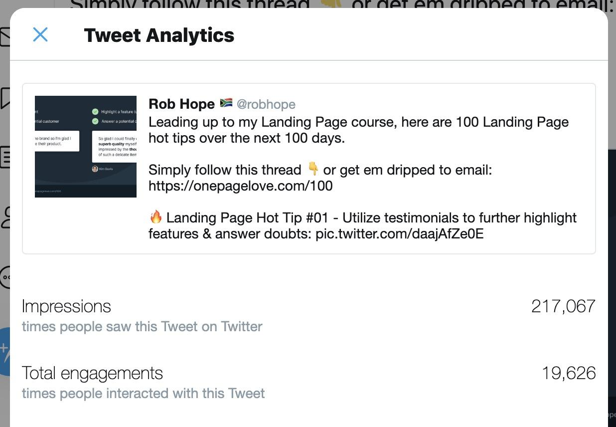 Rob Hope's 100 Hot Tips for Landing Pages Growth Hack Announcement Tweet Analytics