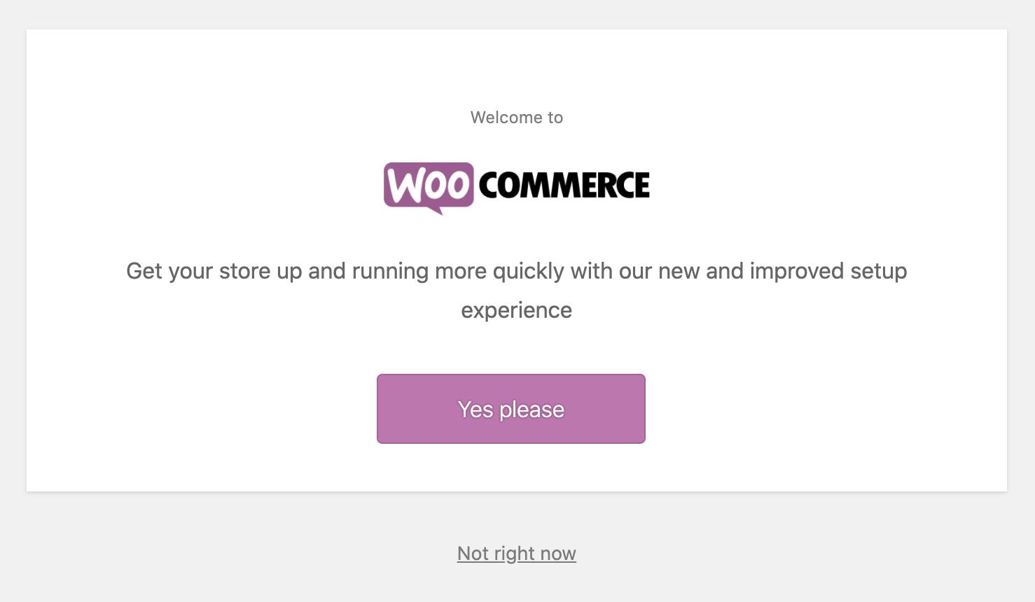 WooCommerce Activation Screen