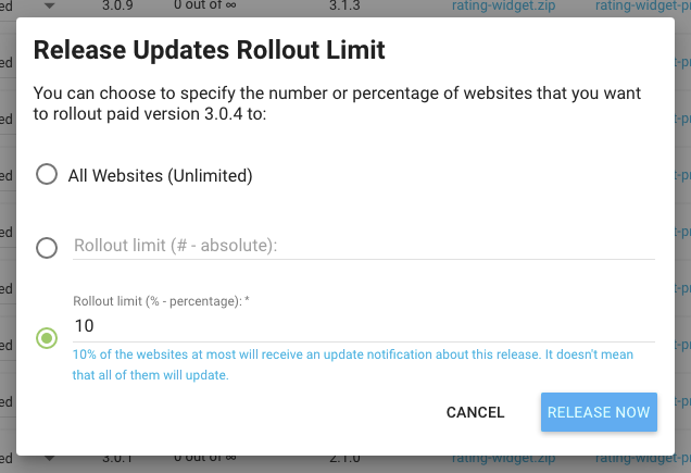 Freemius Staged Rollouts Release Limit by Percentage or Number of Sites