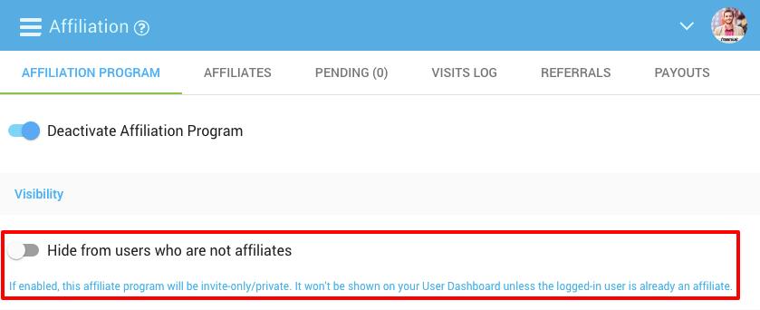 Freemius Developer Dashboard Affiliate Program option to Hide program from non-affiliates