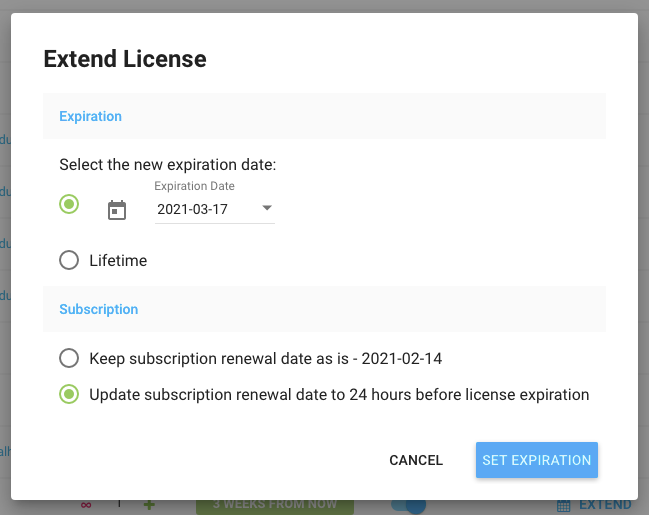 Freemius Developer Dashboard Extend License and Update Subscription Renewal Date