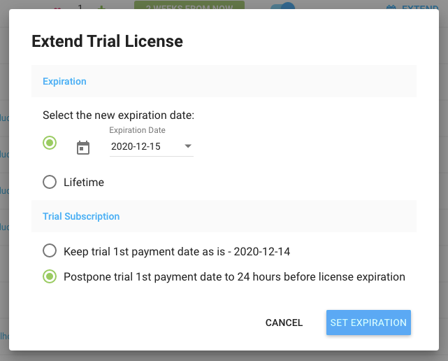 Freemius Developer Dashboard Extend Trial License and Update 1st Payment Date