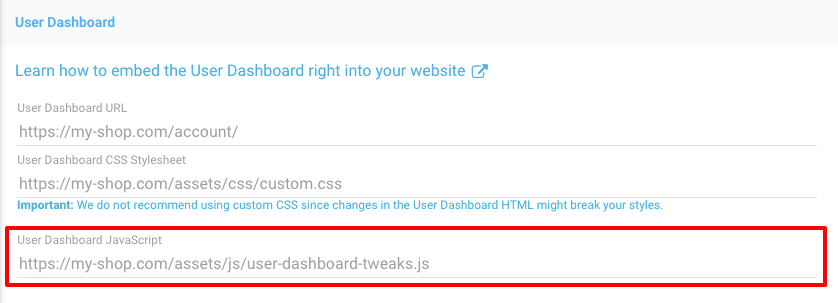 Freemius Developer Dashboard Javascript Customization for User Dashboard