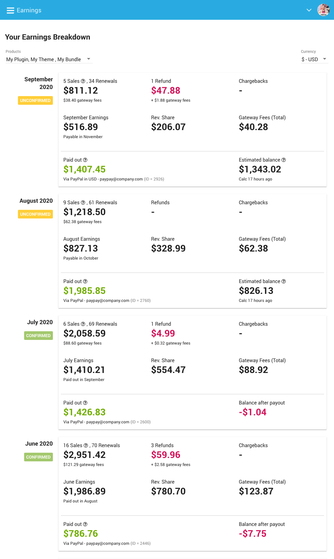 Freemius Developer Dashboard Revamped Earnings Page