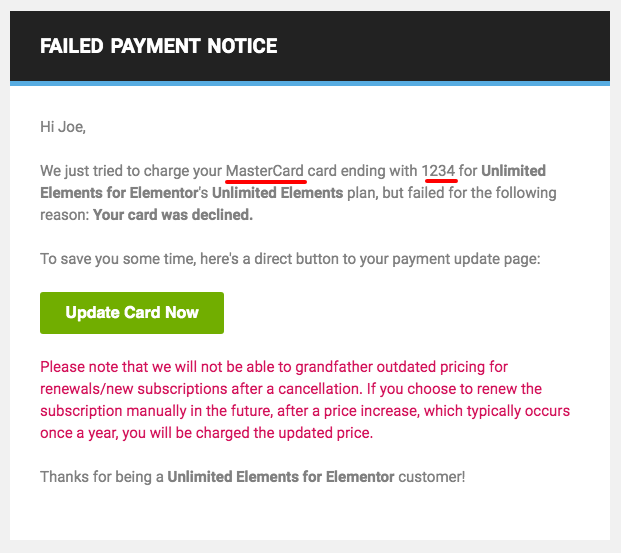 Freemius Failed Payment Notice including payment details and fear of losing out on current pricing notice