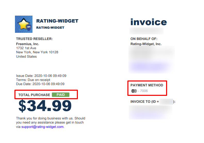Freemius Invoices Marked as Paid and including Payment Method Details