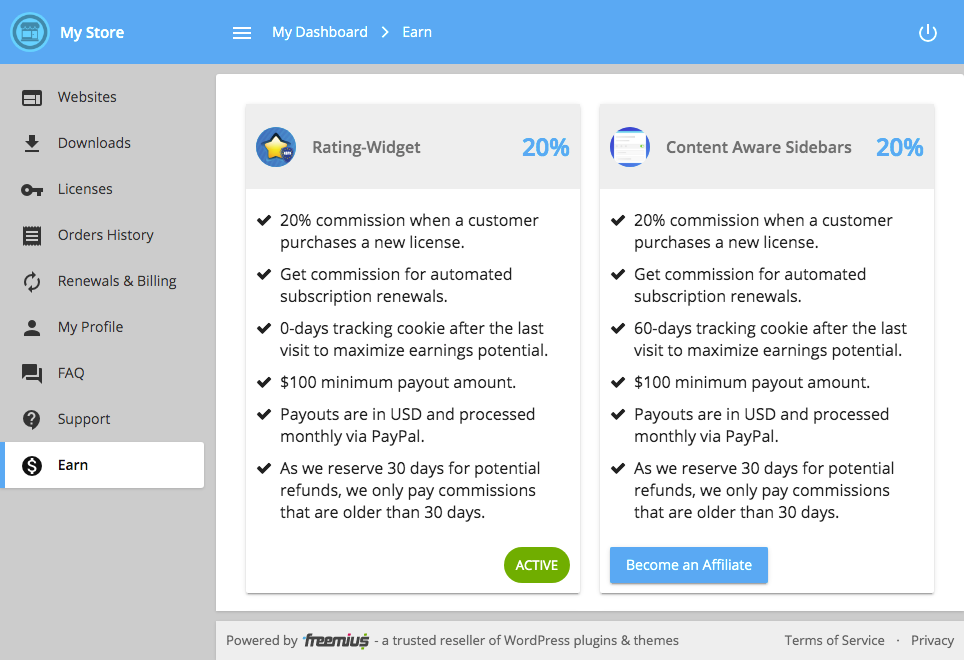 Freemius User Dashboard Earn Section for Affiliates
