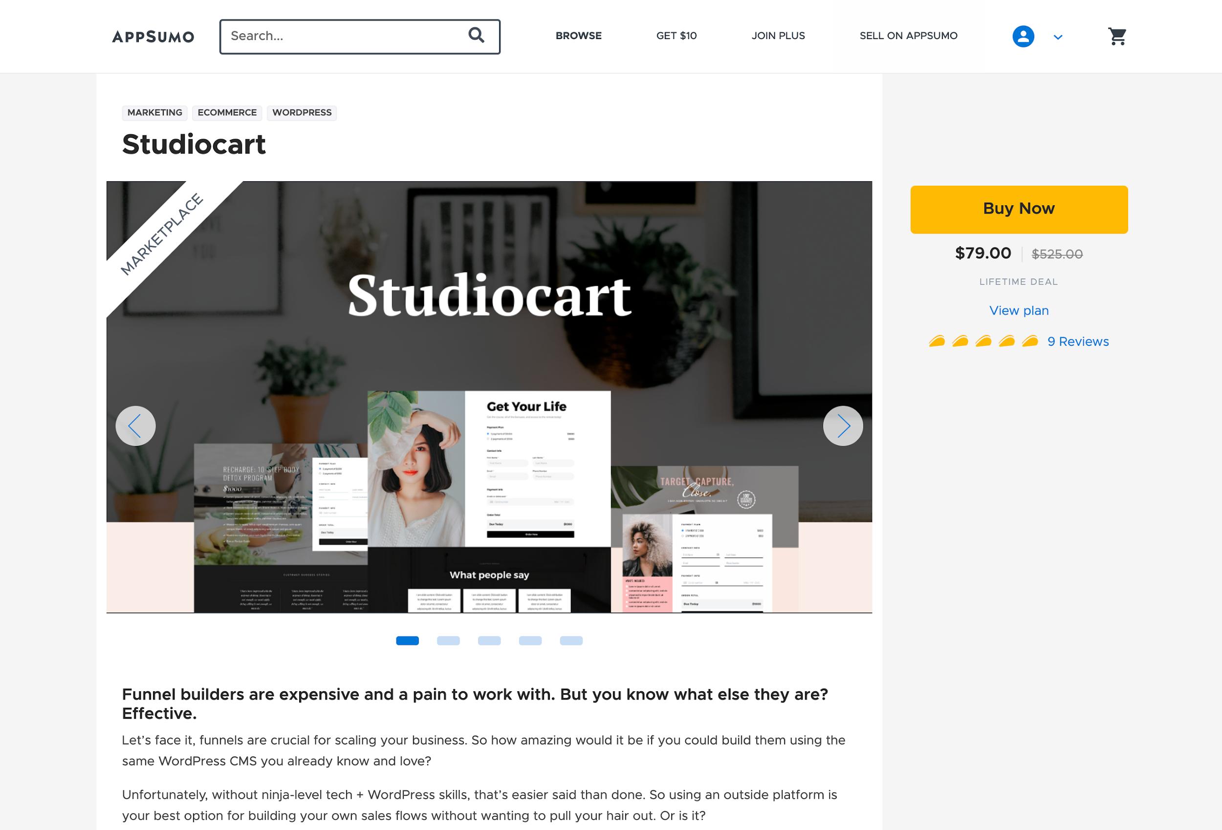 Studiocart AppSumo Marketplace Listing Page