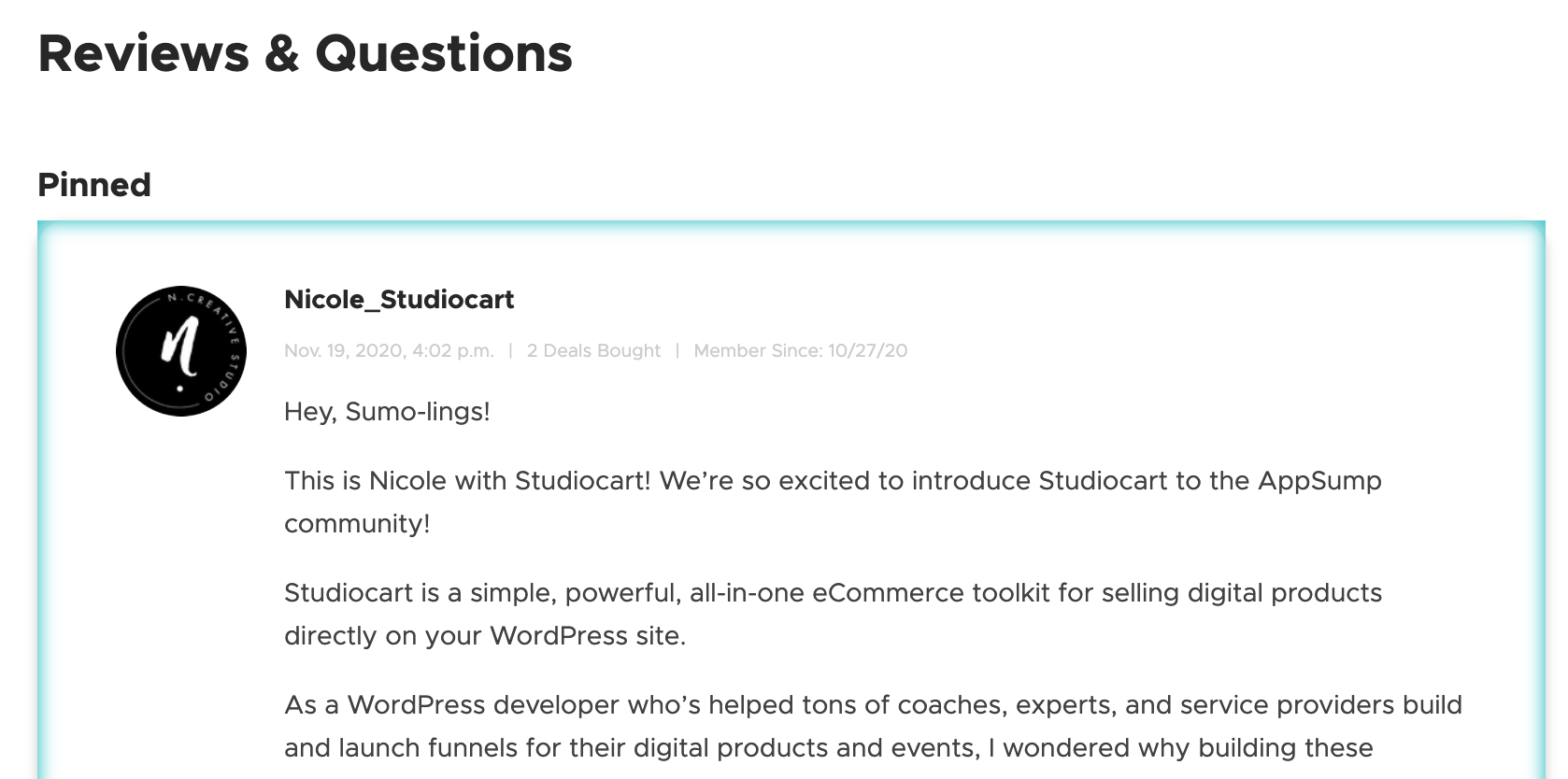 Studiocart AppSumo Reviews and Questions Pinned Question