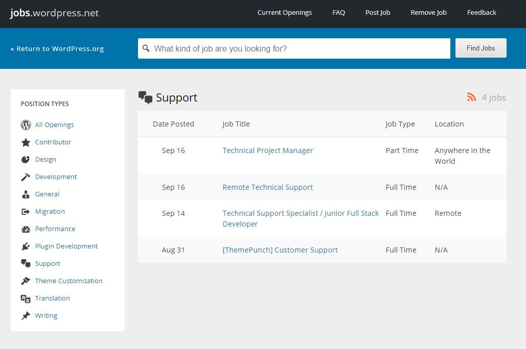 Customer support agent job listings at WordPress.org